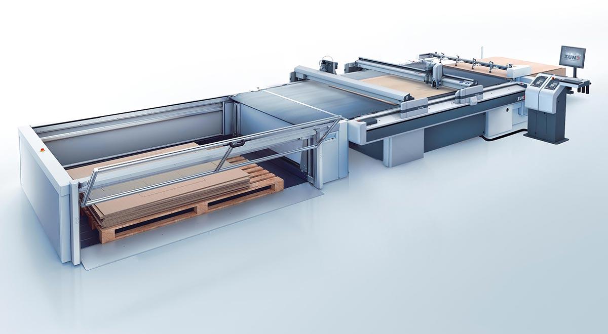 textile cutting equipment –The Zünd G3 digital cutter: board handling system.