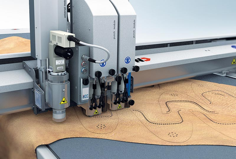 leather cutting – MindCUT Studio features for the Zünd L3 digital cutter: automatic cut-path optimisation.