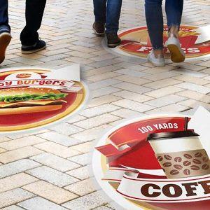 backlit –backlit film and printable film from Midcomp. Picture of retail customers walking over printed floor graphics.