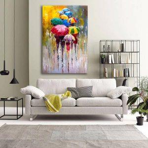 digital fabrics –printed canvas art in an interior setting.