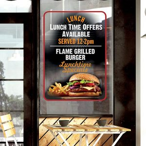 vinyls – Drytac clear, bubble-free vinyl applied for signage in a restaurant.