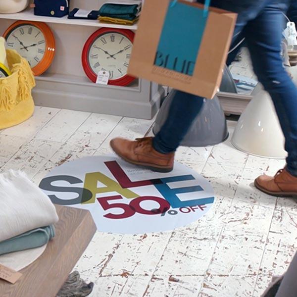 vinyls – Drytac SpotOn 200 floor graphic applied for retail advertising.