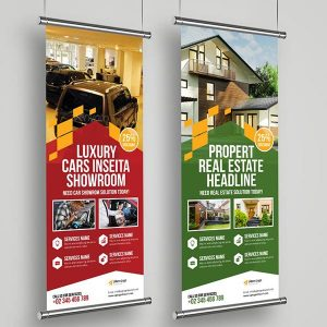 digital fabrics –hanging banners printed on textile.
