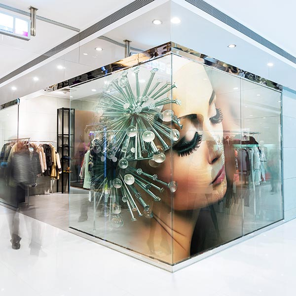 consumables for print – Drytac window film applied to a shop exterior.